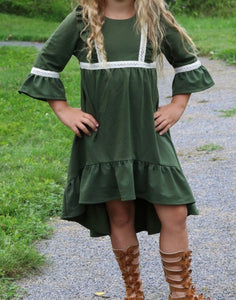 Forest Green High/Low Girls Dress