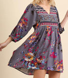Grey/Lavender Floral Print Dress