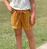 Mustard Stripe Shorts for girls