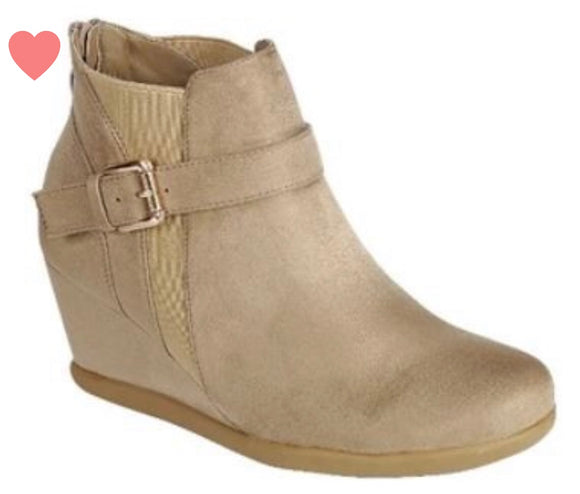 Kids Buckle Wedge Bootie