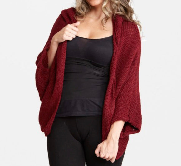 Wine 3/4 Sleeve Hooded Cardigan