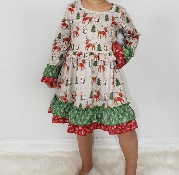 Deer & Penguin Christmas Dress