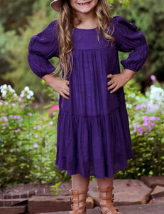 Midnight Purple 3/4 Sleeve Girls Dress