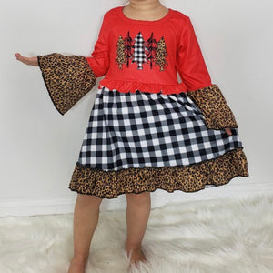 Plaid/Leopard Christmas Dress
