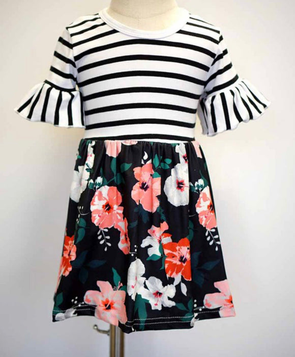 Black Stripe w/Floral Girls Dress