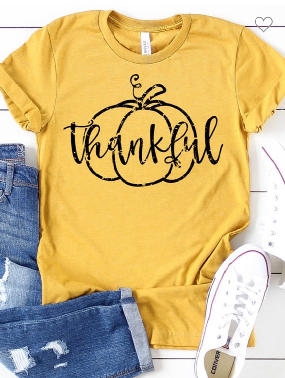 Gold Thankful Pumpkin Tee