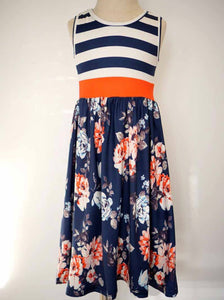 Navy Stripe & Floral Maxi Dress