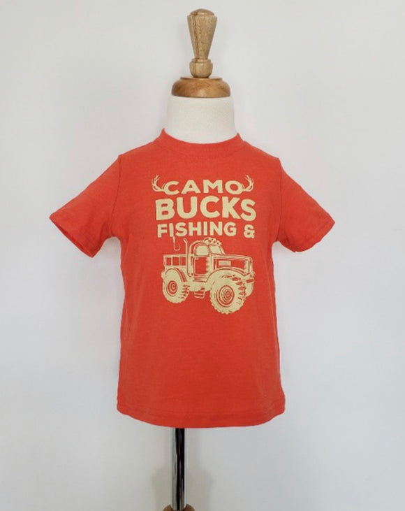 Orange boys T-shirt- camo, bucks...trucks