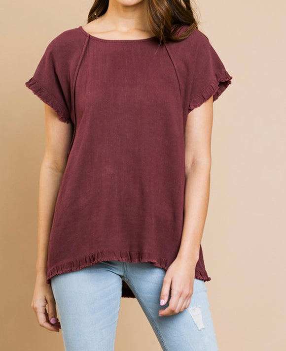 Maroon Fringed Hem Top