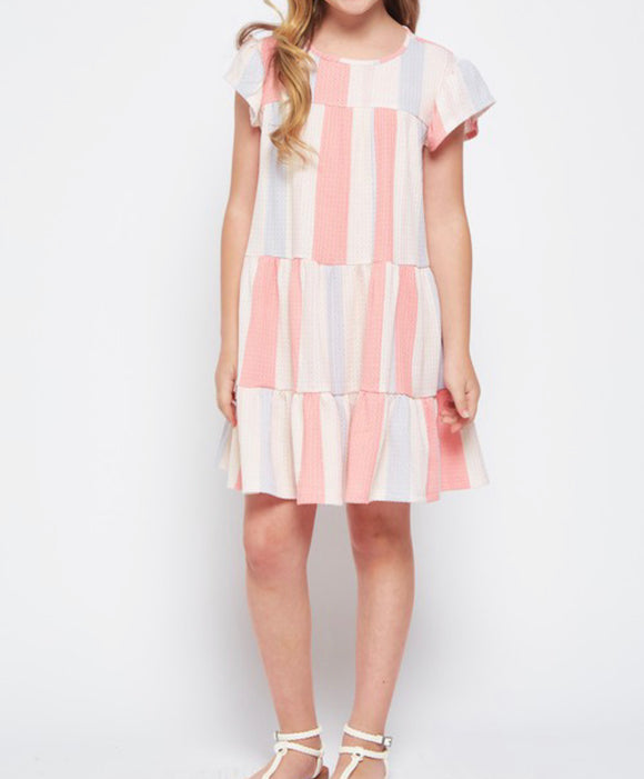Coral/Beige waffle Dress