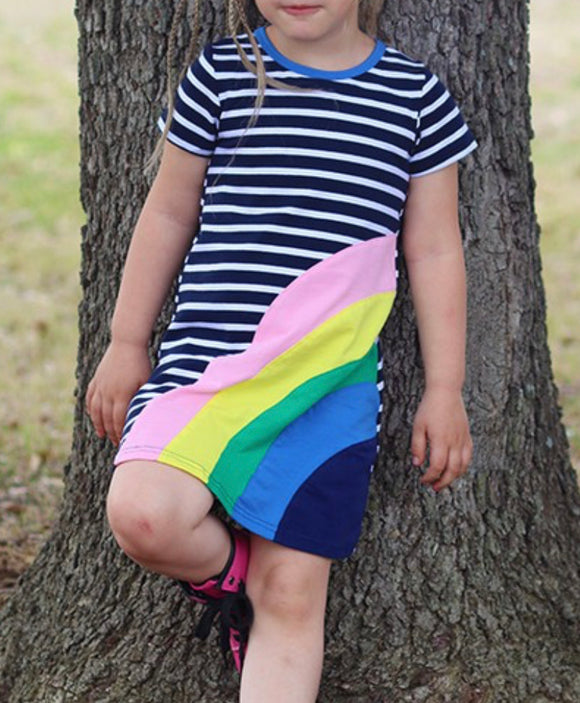 Navy Stripe with Rainbow-girls dress