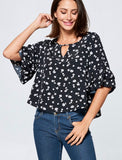 Bell Sleeve Top in Black floral print