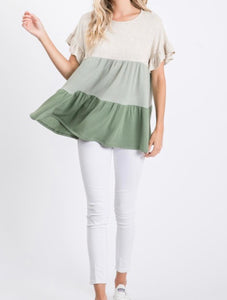 Olive-short sleeve Top