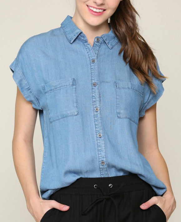 Denim Short Sleeve Top