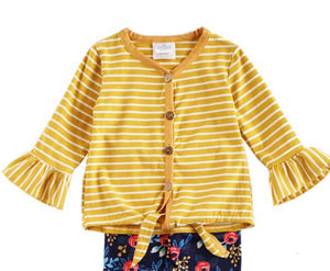 Mustard Stripe Girls Tie Top