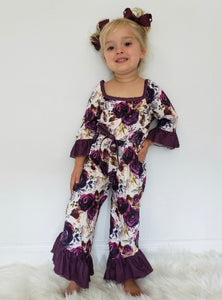 Plum Floral Girls Romper