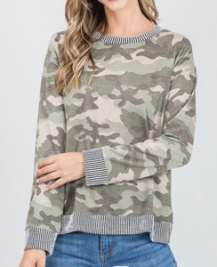 Camo Split Back Top