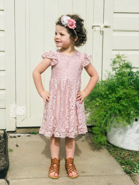 BLUSH LACE DRESS WITH ANGEL SLEEVES--girls and toddler sizes