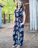 Madison Jumpsuit Romper- Navy & Gray Floral, tween fashion