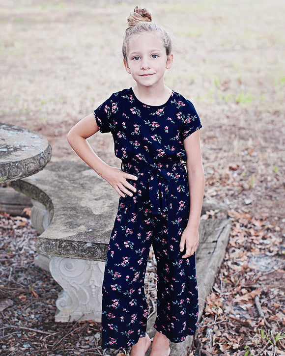 Madison Jumpsuit Romper- Navy & Mauve Buds