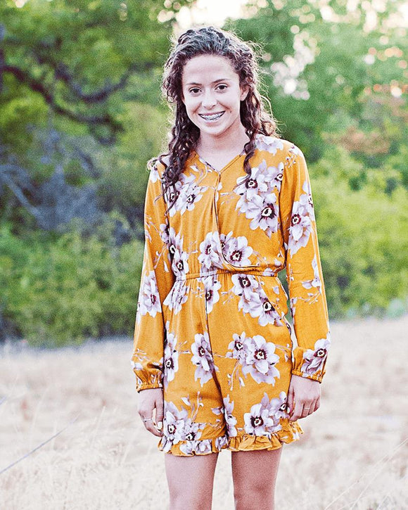 Marie Shorty Romper- Mustard & Tan Floral, girls clothes