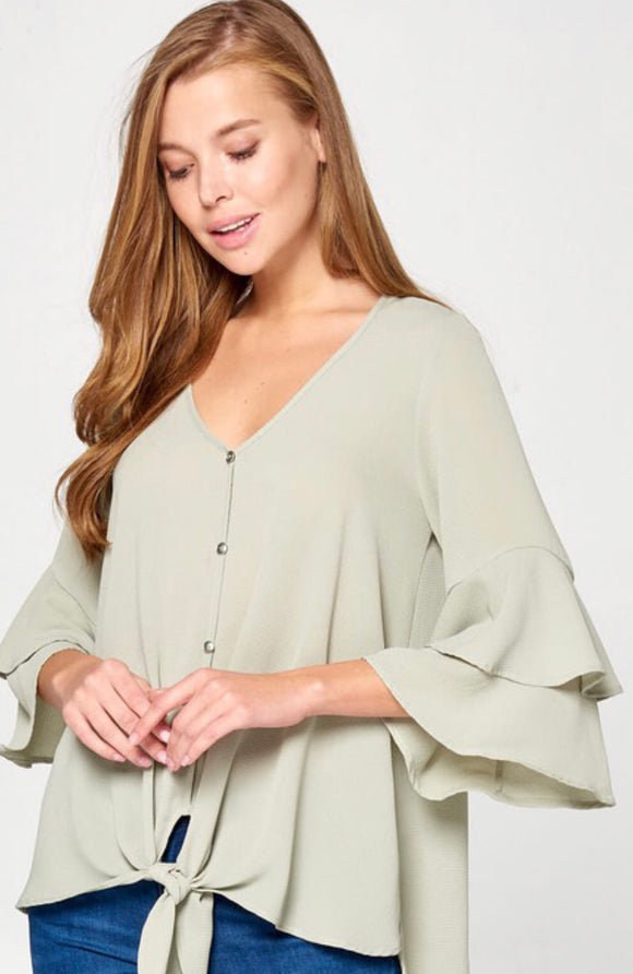 Sage Bell Shaped Ruffle Sleeve-Ladies Top