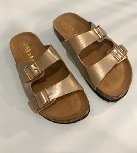 Ladies Double Buckle Slip on Sandal-Rose Gold