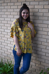 Mustard Floral - Ladies Top