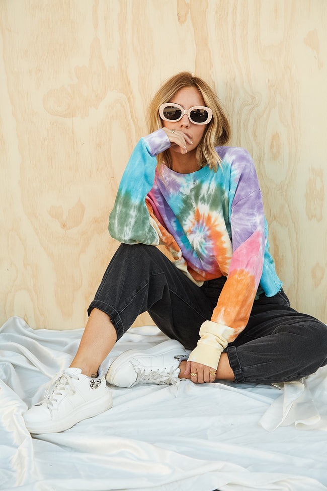 Tie Dye Crop Sweatshirt by Daydreamer