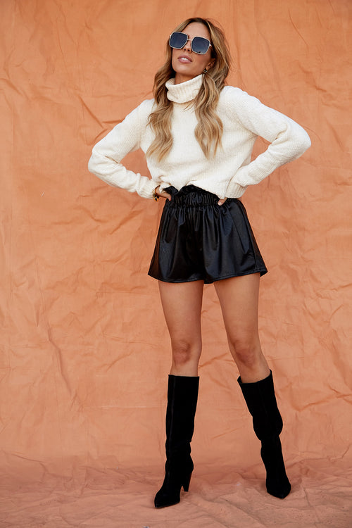 Runway Leather Shorts