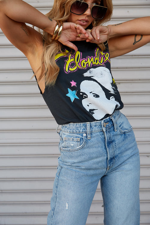 Blondie Dreaming Is Free Rocker Muscle Tank by Daydreamer