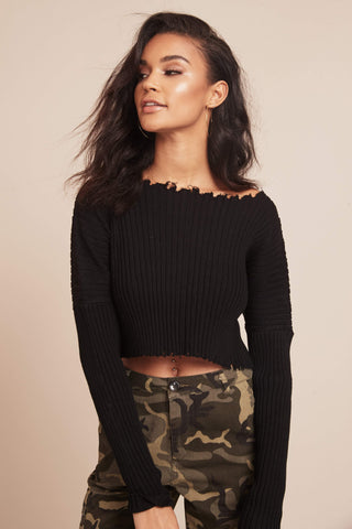 Rough Edges Cropped Sweater