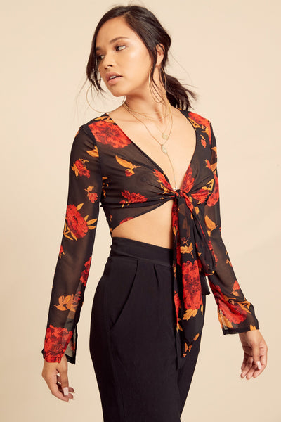 Cherry Blossom Wrap Crop Top