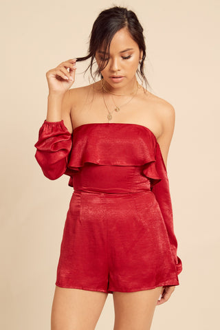 Peppermint Satin Romper