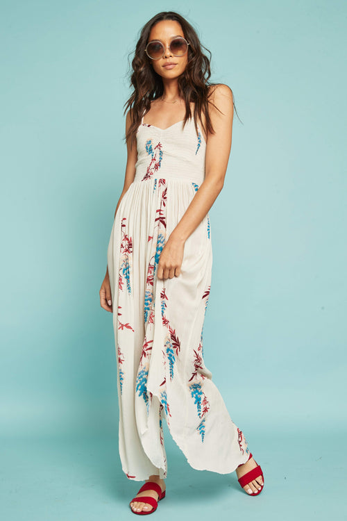 d833fbb9b7568 Beau Smocked Printed Slip by Free People - FINAL SALE
