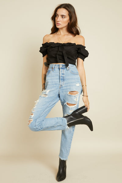 Frilly Jean Crop Top - FINAL SALE