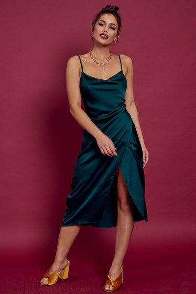 Nice List Satin Midi Dress