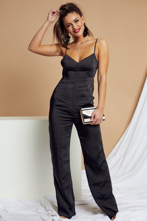 At Midnight Satin Jumpsuit