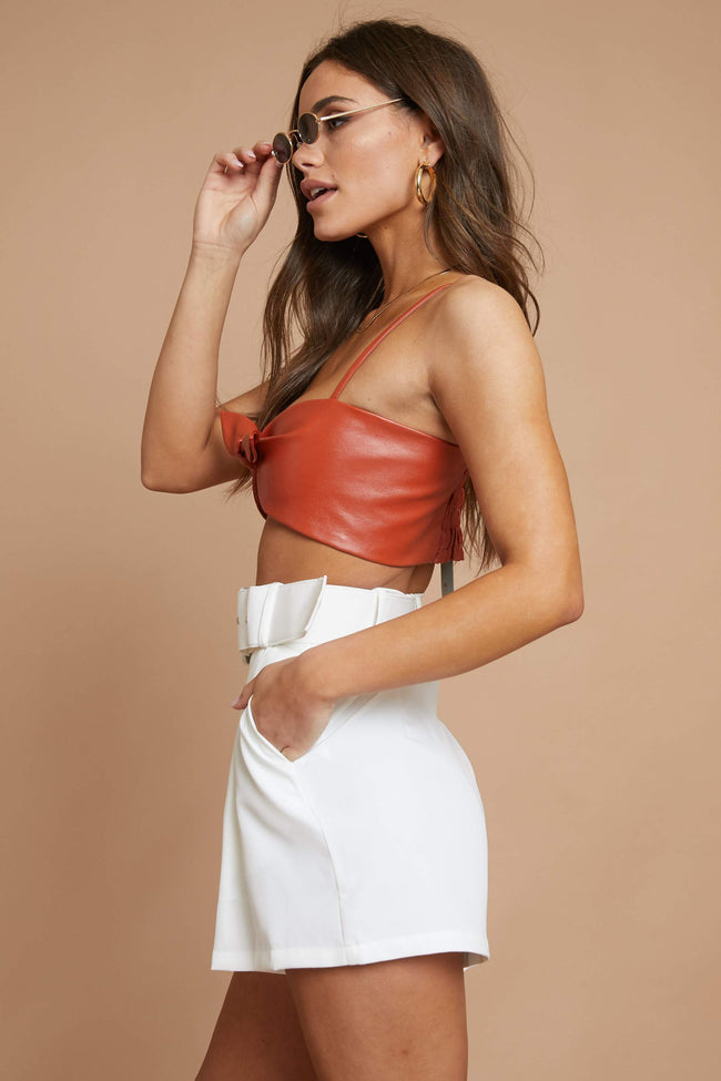 Besitos Leather Crop Top - FINAL SALE