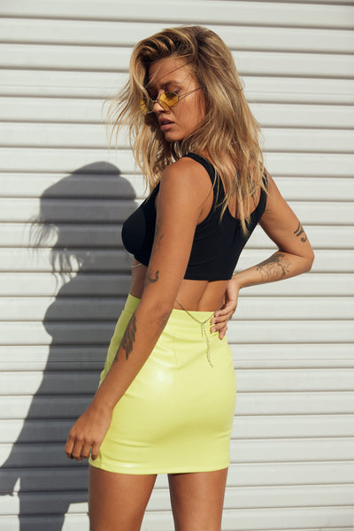 Electric Feel Leather Skirt - FINAL SALE