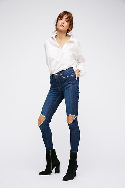High-Rise Busted Skinny Jeans by Free People