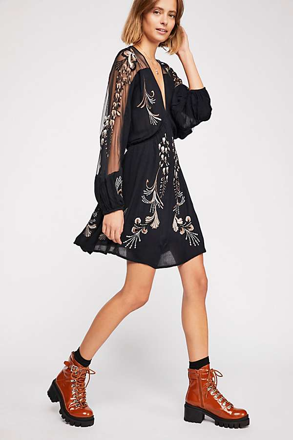 Bonjour Embroidered Mini Dress by Free People - FINAL SALE