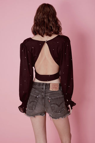 Disco Baby Gold Foil Blouse by For Love & Lemons