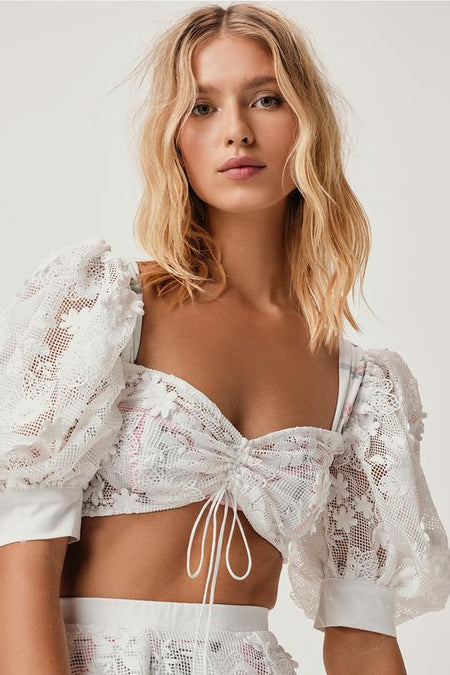La Villette Cropped Blouse by For Love & Lemons - FINAL SALE