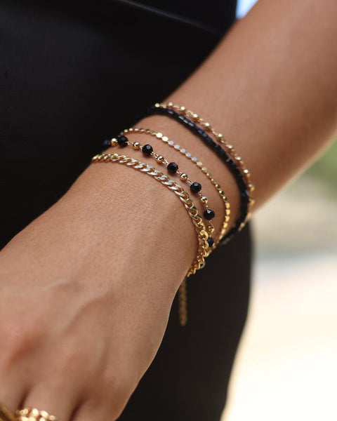 Black Beaded Chain Bracelet by Viviana D'Ontañón