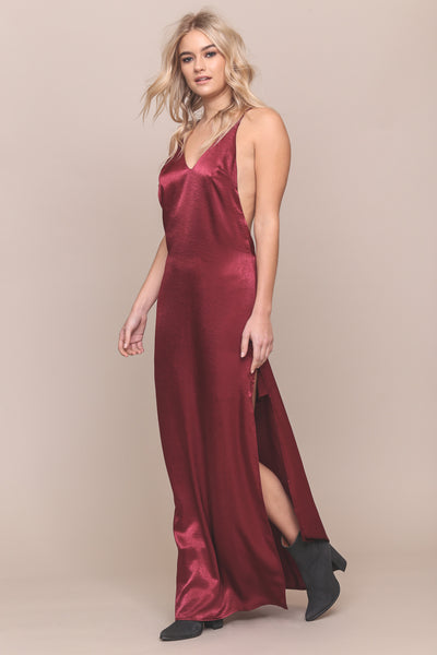 Deja Vu Satin Maxi Dress