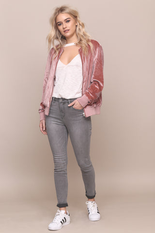 Hard Rock Velvet Bomber Jacket- FINAL SALE