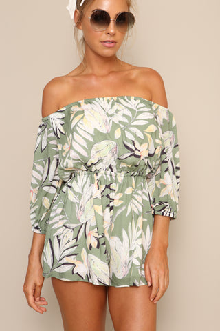 Shady Fronds Off-Shoulder Playsuit by Minkpink