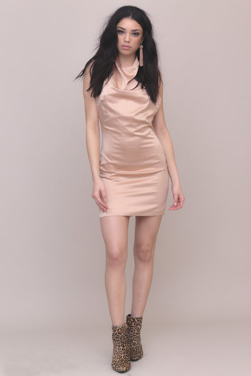 At Midnight Satin Dress - FINAL SALE