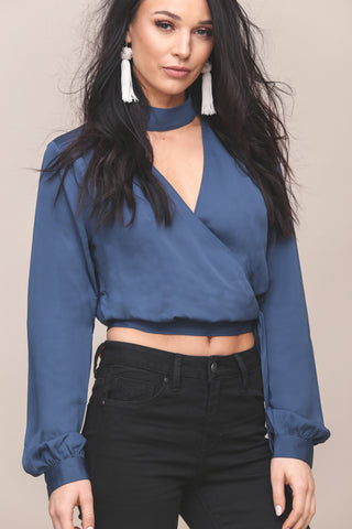 High Collar Wrap Top by L'Academie - FINAL SALE